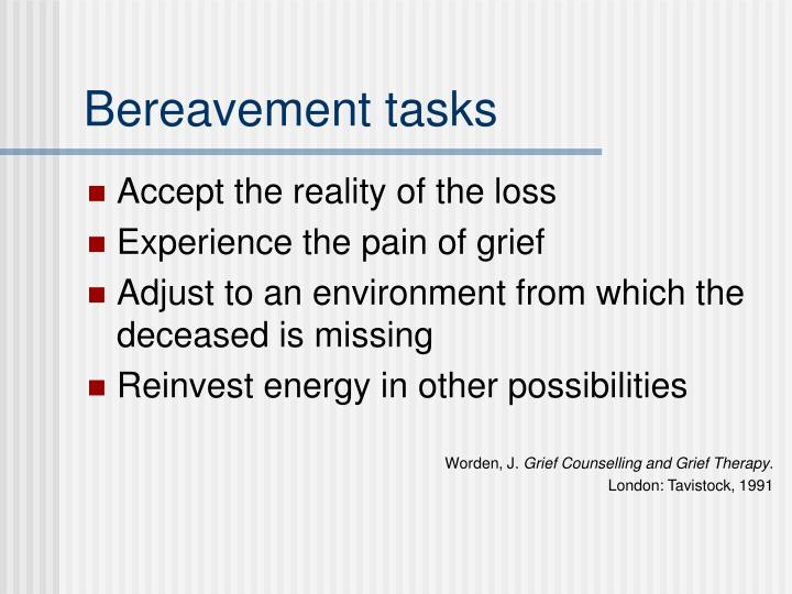 Bereavement tasks