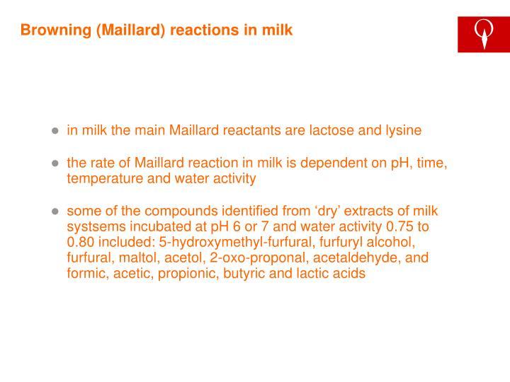 Browning (Maillard) reactions in milk