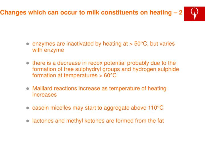 Changes which can occur to milk constituents on heating – 2