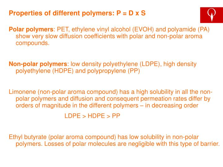 Properties of different polymers: P = D x S