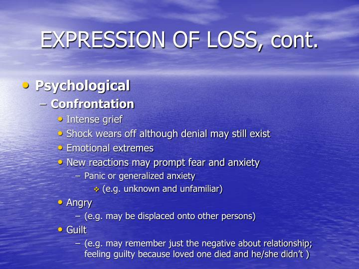 EXPRESSION OF LOSS, cont.
