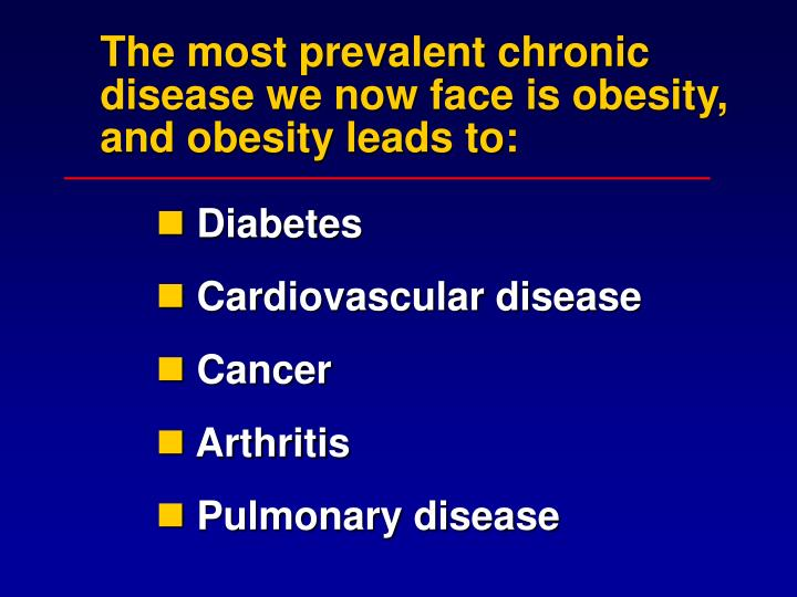 The most prevalent chronic disease we now face is obesity, and obesity leads to: