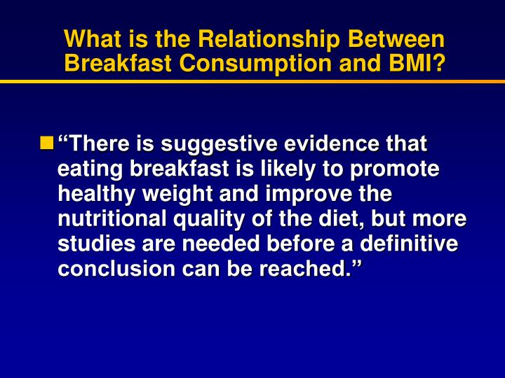 What is the Relationship Between Breakfast Consumption and BMI?