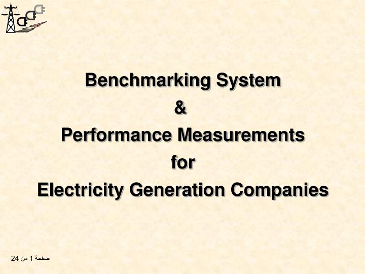 Benchmarking system performance measurements for electricity generation companies