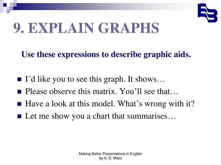 9. EXPLAIN GRAPHS