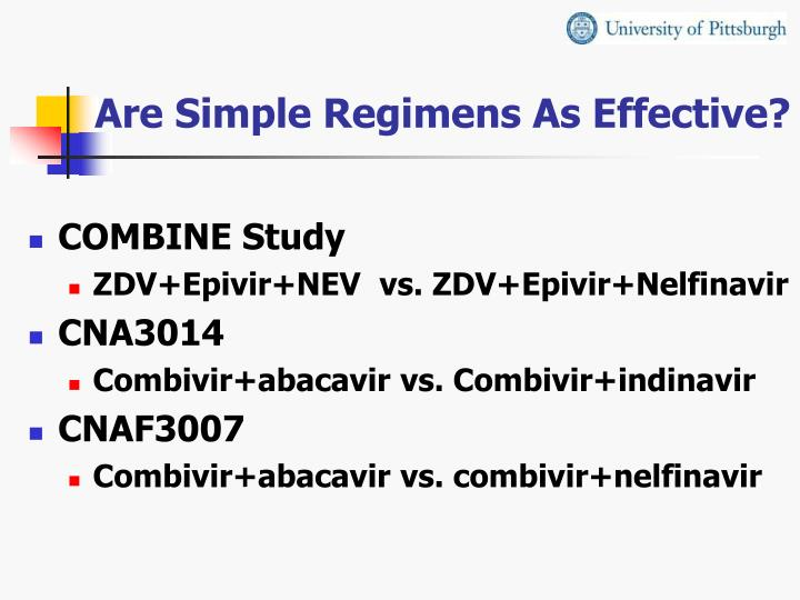 Are Simple Regimens As Effective?