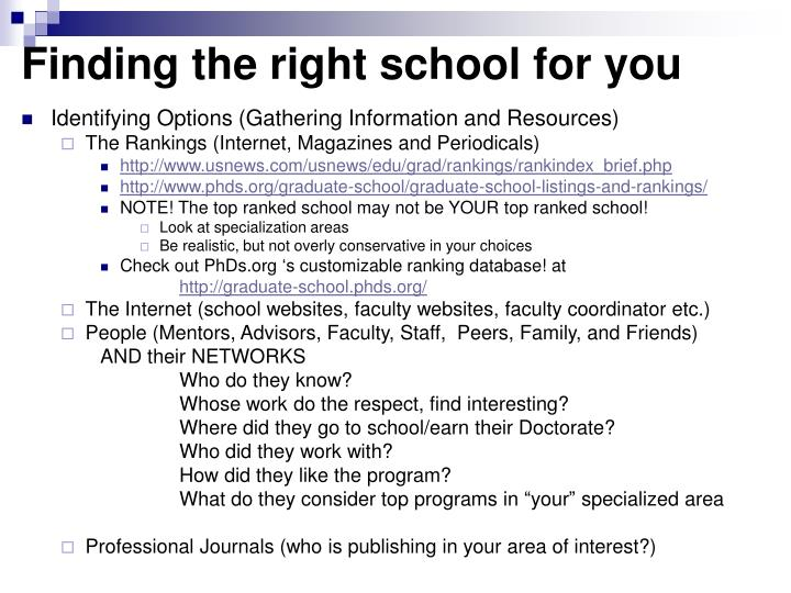 Finding the right school for you