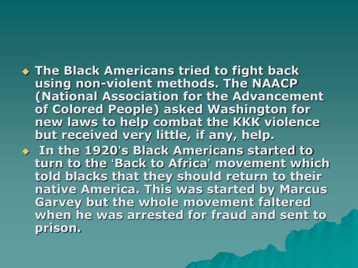 The Black Americans tried to fight back using non-violent methods. The NAACP (National Association for the Advancement of Colored People) asked Washington for new laws to help combat the KKK violence but received very little, if any, help.