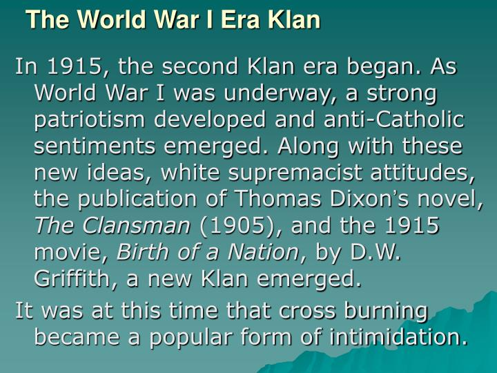 The World War I Era Klan