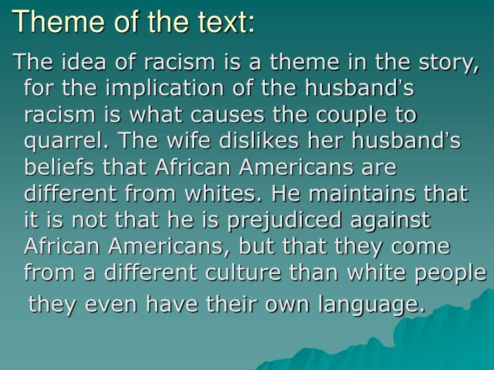 Theme of the text: