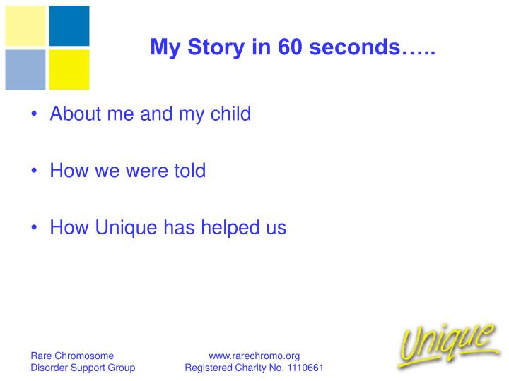 My Story in 60 seconds…..