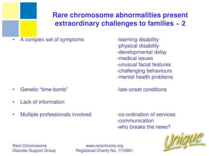 Rare chromosome abnormalities present extraordinary challenges to families ~ 2