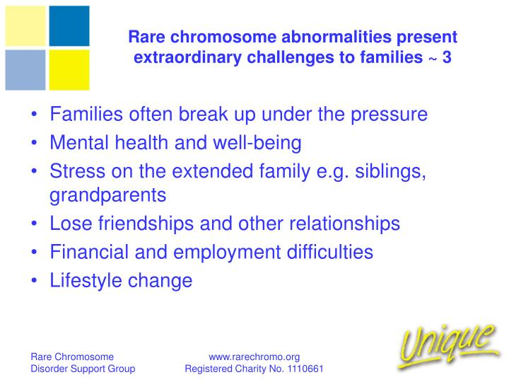 Rare chromosome abnormalities present extraordinary challenges to families ~ 3