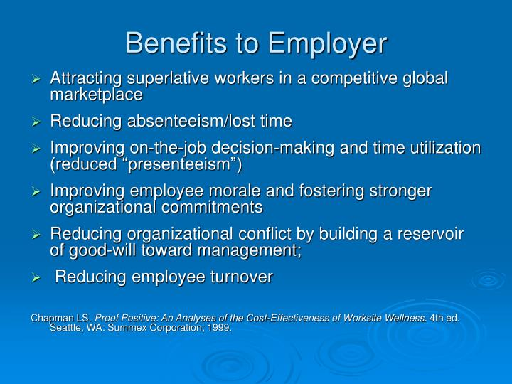 Benefits to Employer