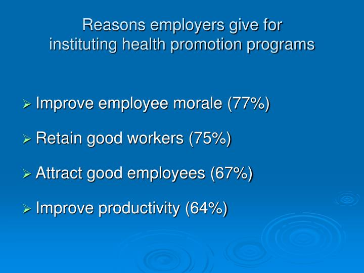 Reasons employers give for