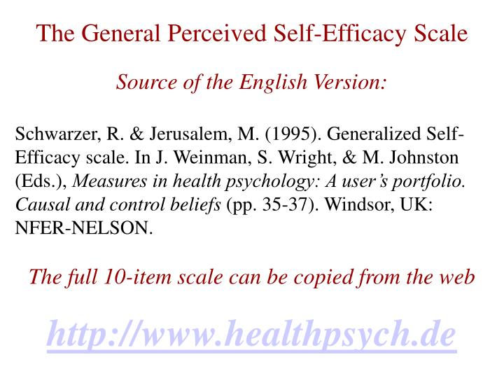 The General Perceived Self-Efficacy Scale