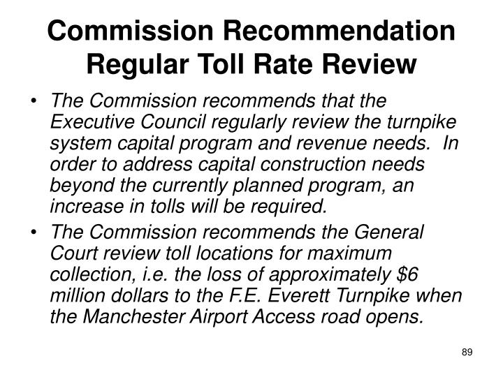 Commission Recommendation Regular Toll Rate Review
