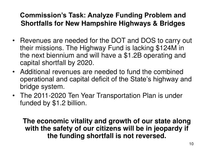 Commission's Task: Analyze Funding Problem and Shortfalls for New Hampshire Highways & Bridges