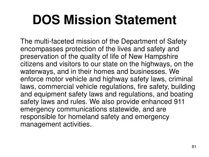 DOS Mission Statement