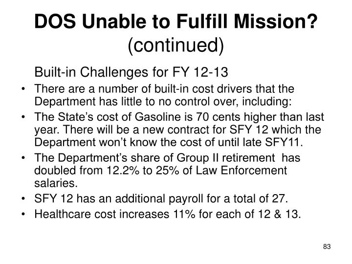 DOS Unable to Fulfill Mission?