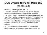 dos unable to fulfill mission continued