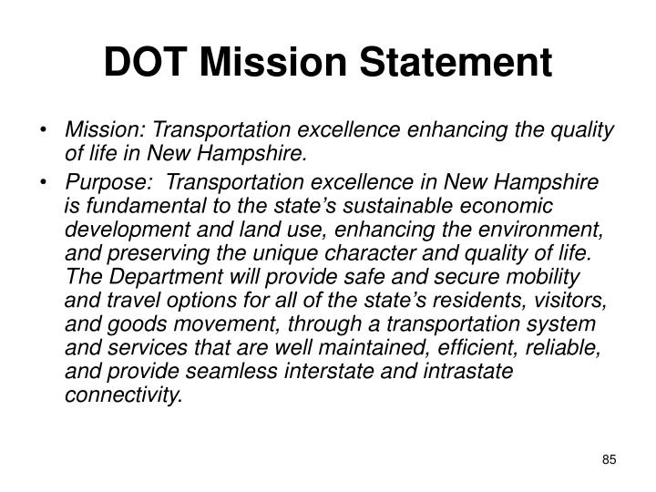 DOT Mission Statement