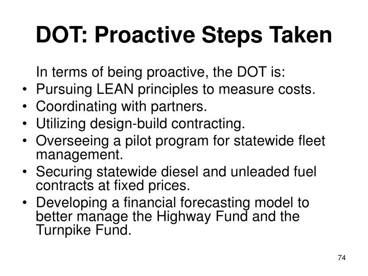 DOT: Proactive Steps Taken