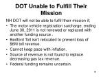 dot unable to fulfill their mission