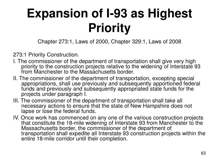 Expansion of I-93 as Highest Priority