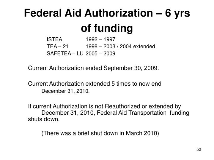 Federal Aid Authorization – 6 yrs of funding