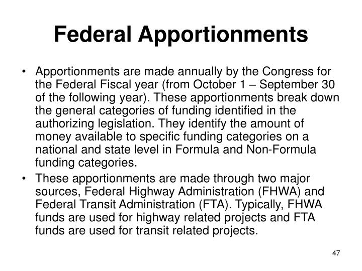 Federal Apportionments