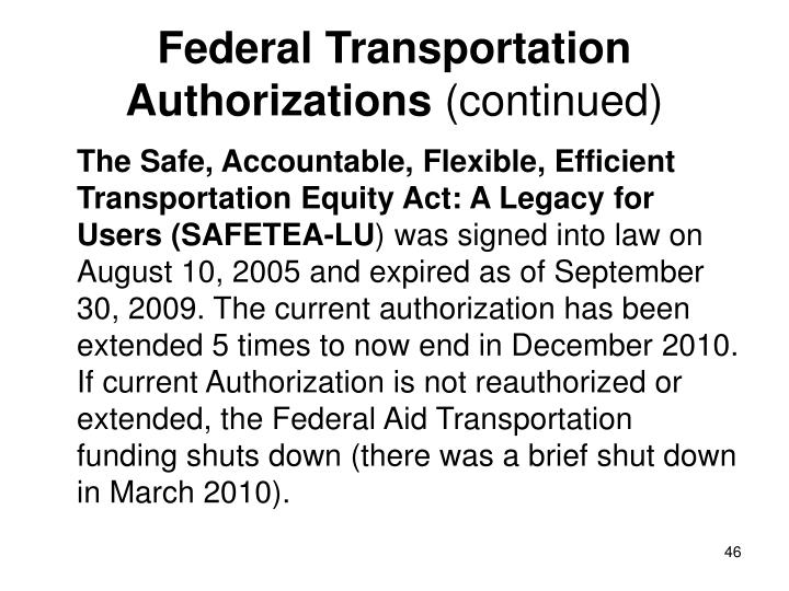 Federal Transportation Authorizations