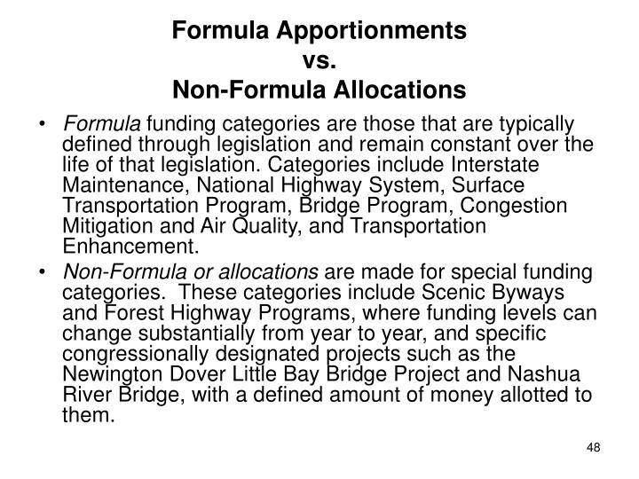 Formula Apportionments