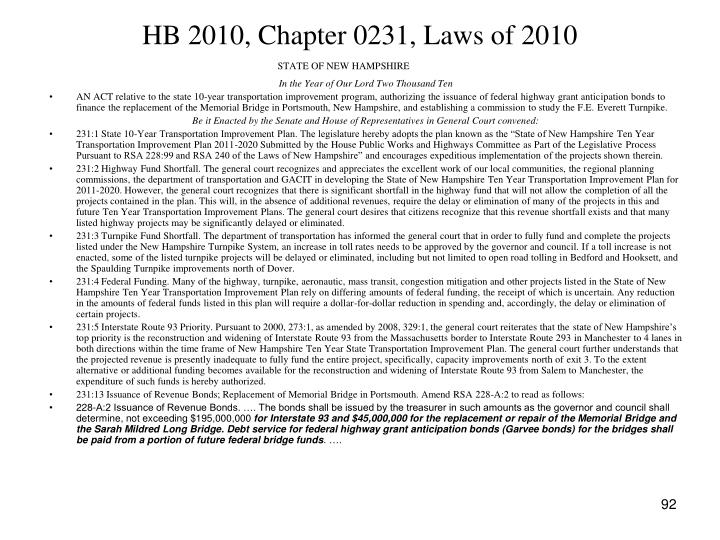 HB 2010, Chapter 0231, Laws of 2010