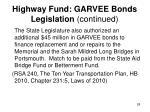 highway fund garvee bonds legislation continued