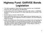 highway fund garvee bonds legislation