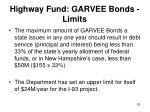 highway fund garvee bonds limits
