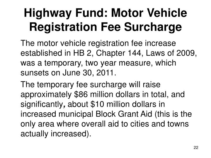 Highway Fund: Motor Vehicle Registration Fee Surcharge