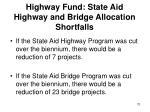 highway fund state aid highway and bridge allocation shortfalls
