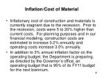 inflation cost of material