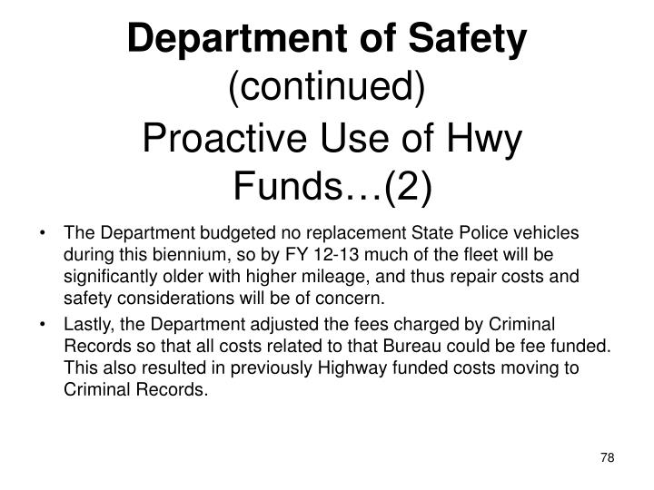 Proactive Use of Hwy Funds…(2)