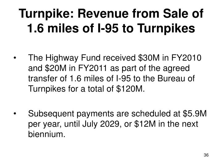 Turnpike: Revenue from Sale of 1.6 miles of I-95 to Turnpikes