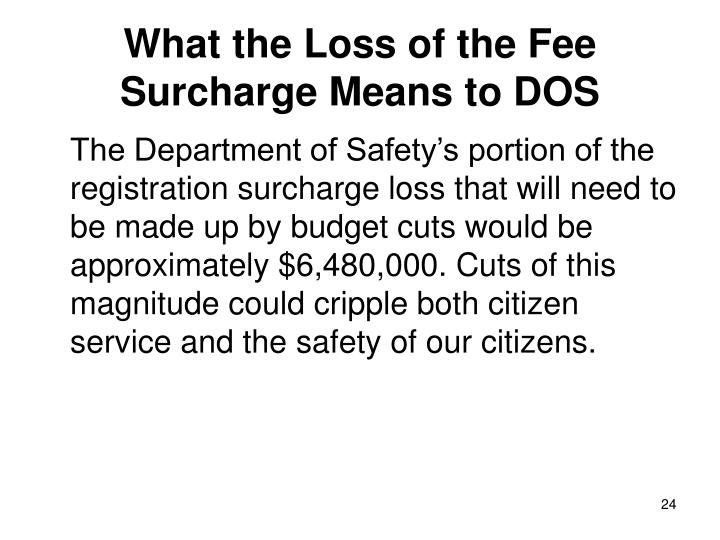 What the Loss of the Fee Surcharge Means to DOS