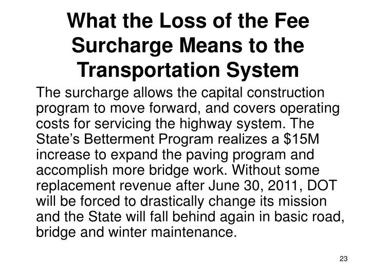 What the Loss of the Fee Surcharge Means to the Transportation System