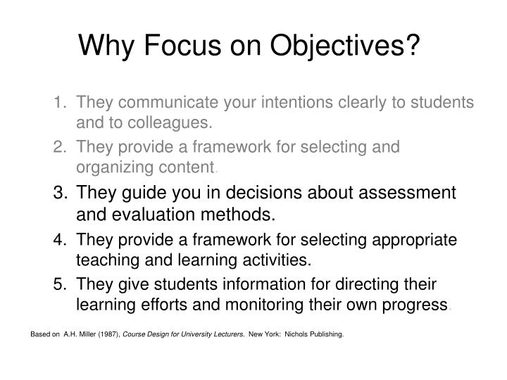 Why Focus on Objectives?