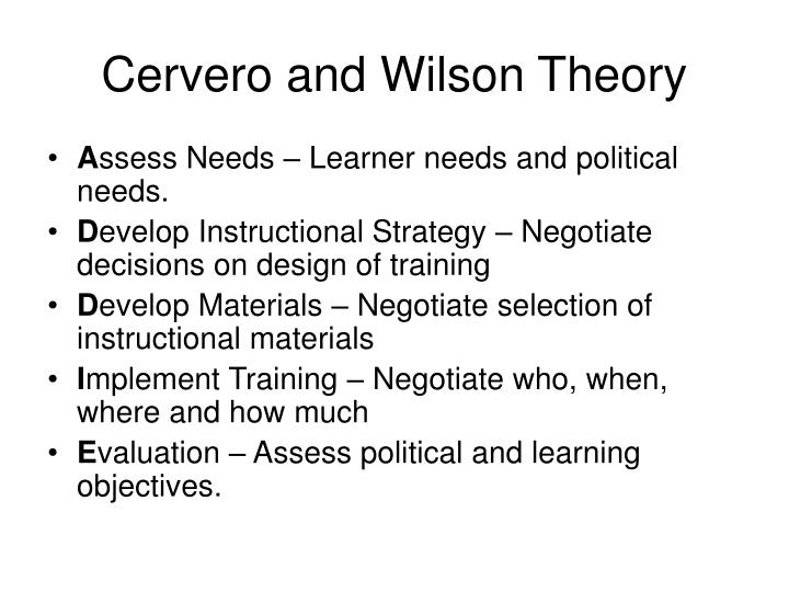 Cervero and Wilson Theory