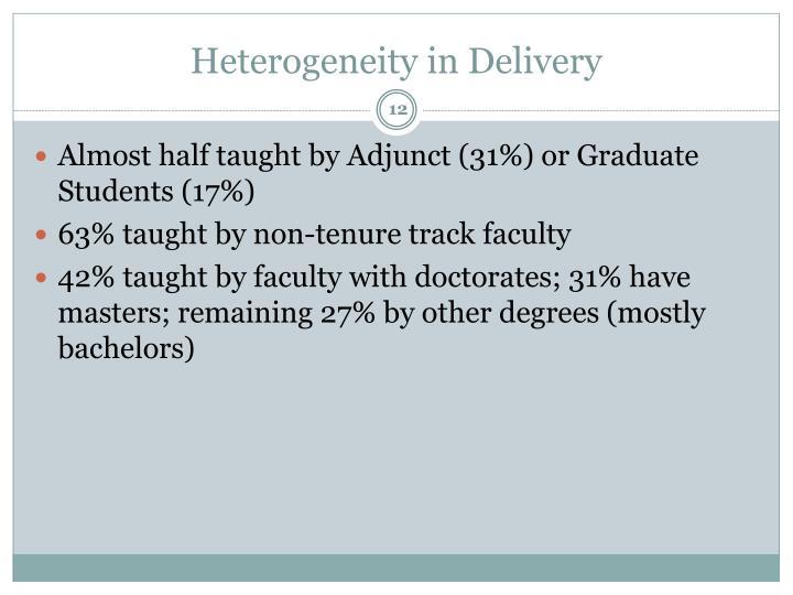 Heterogeneity in Delivery
