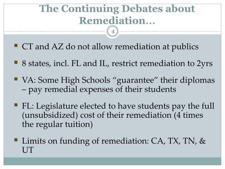 The Continuing Debates about Remediation