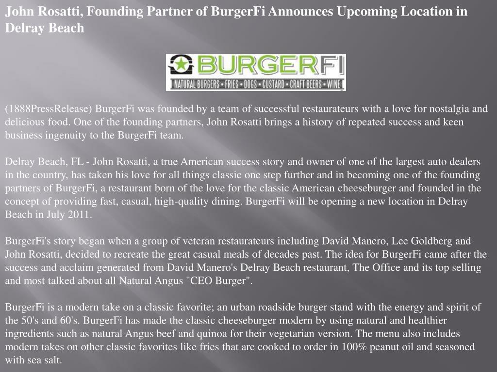 John Rosatti, Founding Partner of BurgerFi Announces Upcoming Location in Delray Beach