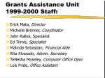 grants assistance unit 1999 2000 staff